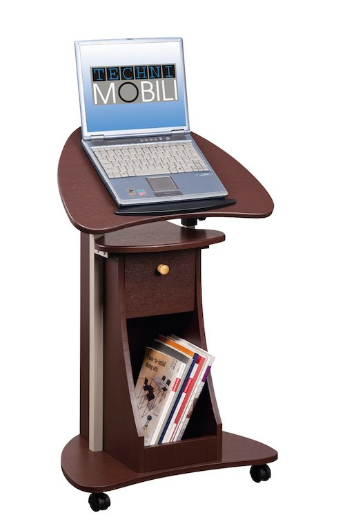 Stand Up Desk Rolling Laptop Cart with Storage Ergonomics Fix