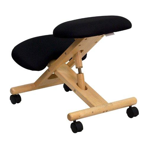 Flash furniture mobile wooden ergonomic kneeling chair for Sillas ergonomicas para pc